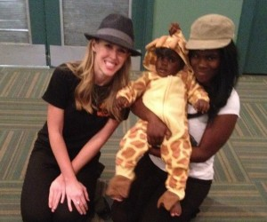'WEEN DREAM founder Kelsey Meeks (L '10) helped costume baby Kanye as a giraffe, allowing him and mom Kiara to celebrate Halloween in style. Photo courtesy of Kelsey Meeks.