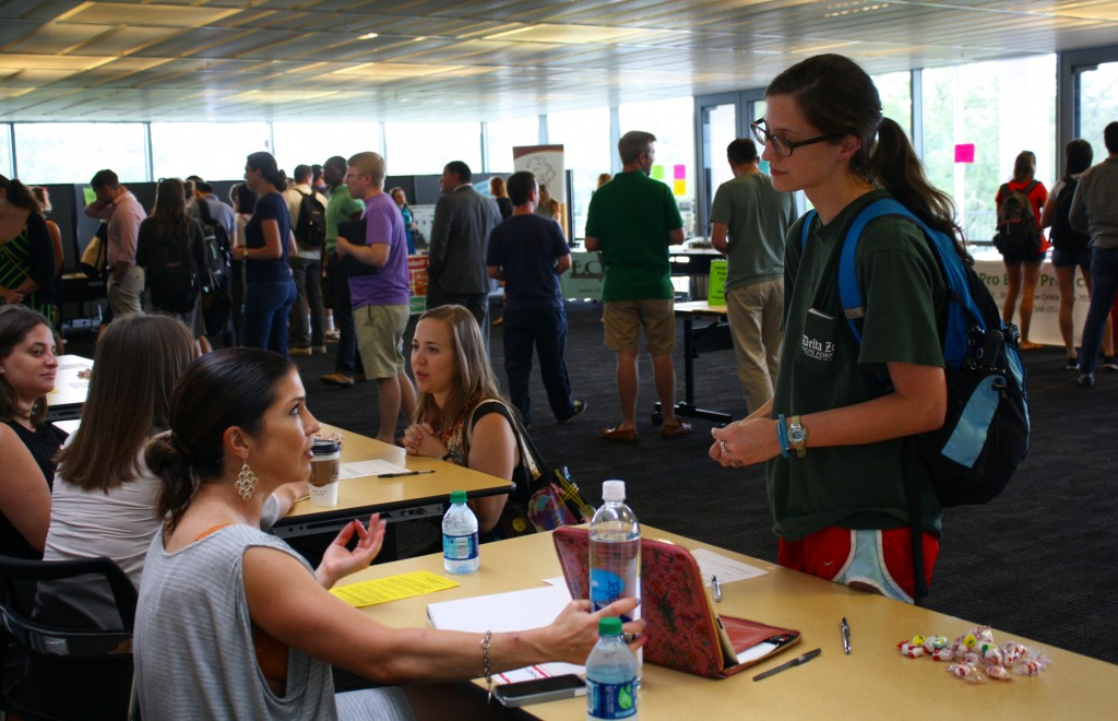 Law students meet with representatives from a variety of local public service programs at Tulane Law's Pro Bono Fair every fall.