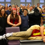 Prof. Sally Richardson teaches Property costumed as a gorilla to support Phi Alpha Delta's Halloween fundraiser.