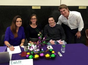 Moot court volunteers Shauna DiGiovanni (L '15), Jennifer David (L '16), Jaimie Riggs (L '15) and Kevin Koskovich (L '16) help run the Mardi Gras Invitational competition.