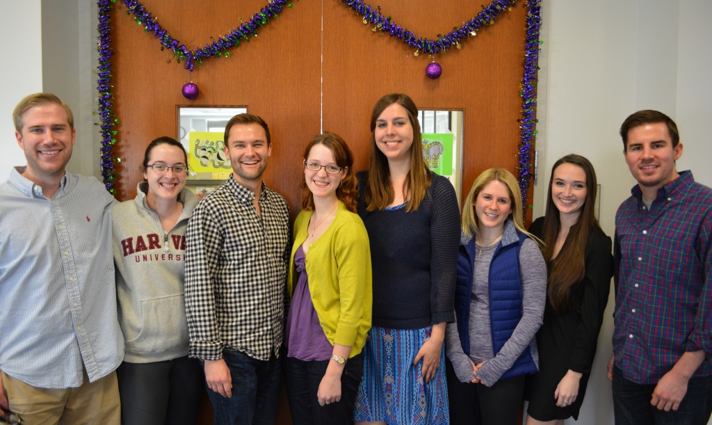 Tulane Law Review students Austin Priddy (L '15), Meghan Marchetti (L '15), Alston Walker (L '15), Libby McIntosh (L '15), Laura Cannon (L '16), Meghan Dupre (L '16), Kathryn Hasting (L '16) and Jeff Gelpi (L '15) infuse a little carnival spirit into their work.