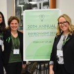 Environmental law students Amanda Serfess, Rachael Waxler and Emily Prince (all L '16) help run the 20th Annual Summit on Environmental Law and Policy.