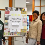 Micah Zeno (L '15), Anjana Turner (L '17) and Alexis Ruiz (L '16) kick off Thank You Thursdays, Honor Board-sponsored events to promote gratitude in the Tulane Law community.