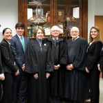 Federal Bar Association student chapter officers meet with 5th U.S. Circuit Court of Appeals Judges Edith Brown Clement (L '73), Jacques Wiener (L '61) and E. Grady Jolly  before the judges hear oral arguments at Tulane Law.