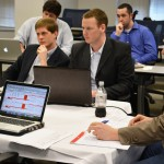 Sanders Phelps and Channing White (both L '16) take on the final round of the first Pro Football Negotiation Competition.