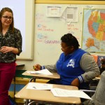 Emily Von Qualen (L '16) teaches tax basics to New Orleans high schoolers through Prof. Marjorie Kornhauser's TaxJazz program.