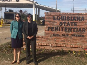 Caroline Wick and Angela Pokorn (both L '15) attend a hearing for a POPS client at Angola Penitentiary.