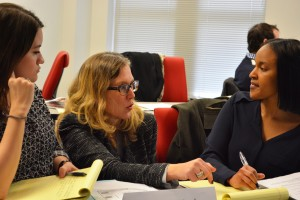 Laura Gasiorowski (L '94) helps criminal litigation students prepare to argue motions in court.