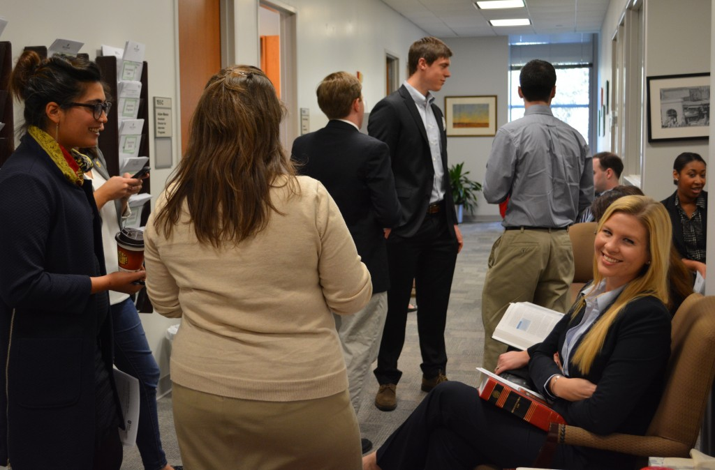 Students wait to take discounted headshots and order business cards, arranged by the Student Bar Association's Career Development Office liaisons.